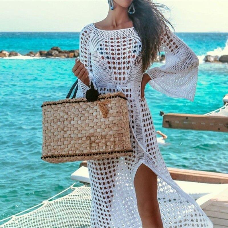 2019 Crochet Bianco Lavorato A Maglia Beach Cover Up Dress Tunica Lunga Parei Costume Da Bagno Coverup Swim Cover Up Veste Plage Beachwear