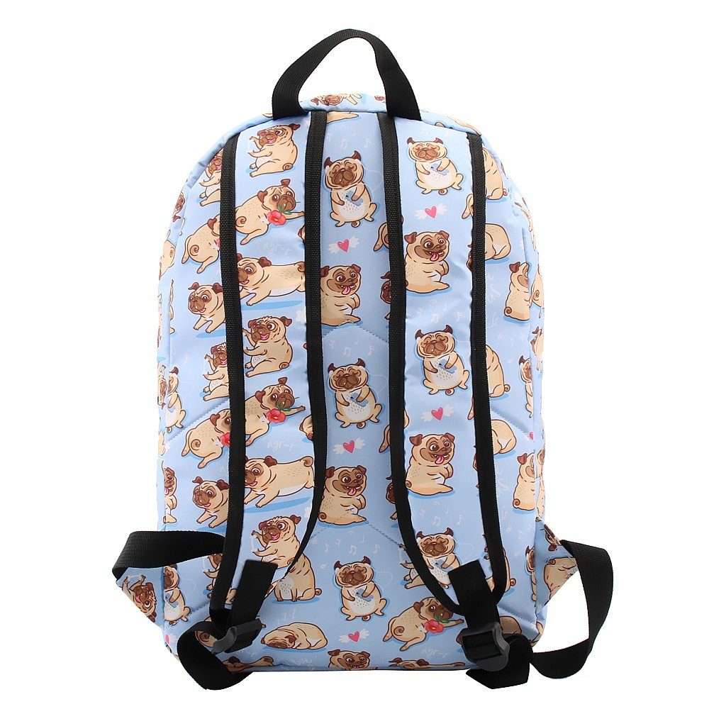 Image 4 - Deanfun Backpack for Girls Cute Pug Flower Water Resistant Heart Blue Backpacks Teenage School Bag Gift  80047-in Backpacks from Luggage & Bags