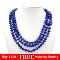 Lii Ji Gemstone Natural Lapis Lazuli 925 Sterling Silver Pendant Clasp Fine Necklace