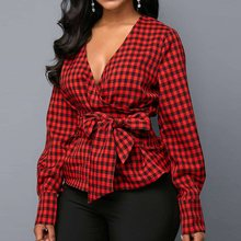 Elegant Party Summer Red Sweet African OL Ladies Vintage Sexy Women Blouses Lantern Sleeve Bowknot Plaid Tops Fashion Shirts
