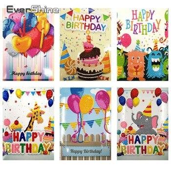 Evershine Happy Birthday Greeting Cards Diy Diamond Painting Handmade Greetings Card Diamond Embroidery Children Birthday Gift