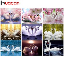 Huacan Diamond Painting Swan Home Decoration Picture Mosaic Rhinestone Paintings 5D Diy Embroidery Animal