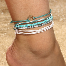 JCYMONG модный дизайн 5 шт женские браслеты для щиколотки Boho Веревка Цепь Зеленые Бусины волна лодыжки браслет на ногу бижутерия для ног