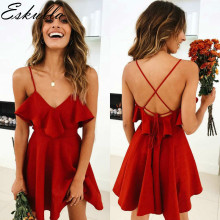 Eskulla Summer Womens Red Dress Backless Cross Drawstring Ruffles Bundle Waist V-neck Strap Mini Dresses  pure color Vintage