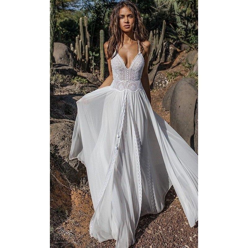 Dentelle Boho plage été robe 2019 longue Maxi robe femmes deux pièces blanc en mousseline de soie robe Split Patchwork sangle dames robes