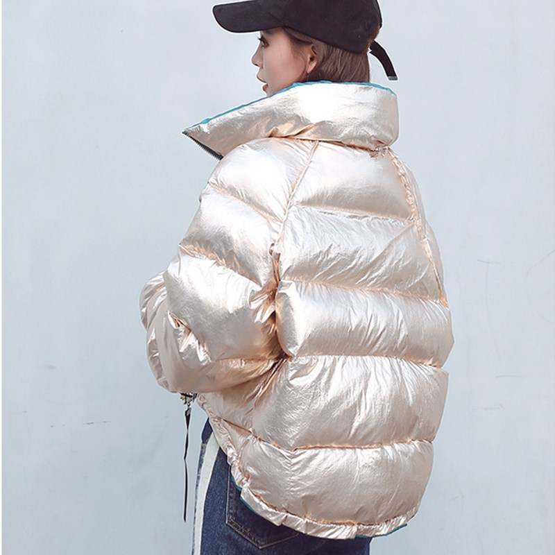 Winter Women Coat Fashion Duck Down Jacket Korean style Silver Bright Snow   Parkas   Casual Loose Bomber Jacket Streetwear Outwear