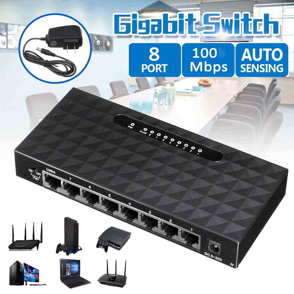 8-Puerto RJ45 10/100/1000 Mbps nos enchufe de red Gigabit Ethernet Hub Switch Lan adaptador para conmutador Ethernet rápido Modems