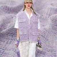 Hot sale Light purple yarn dyed tweed fabric for dress coat telas por metro tissu tissus bazin riche getzner sewing tecido DIY