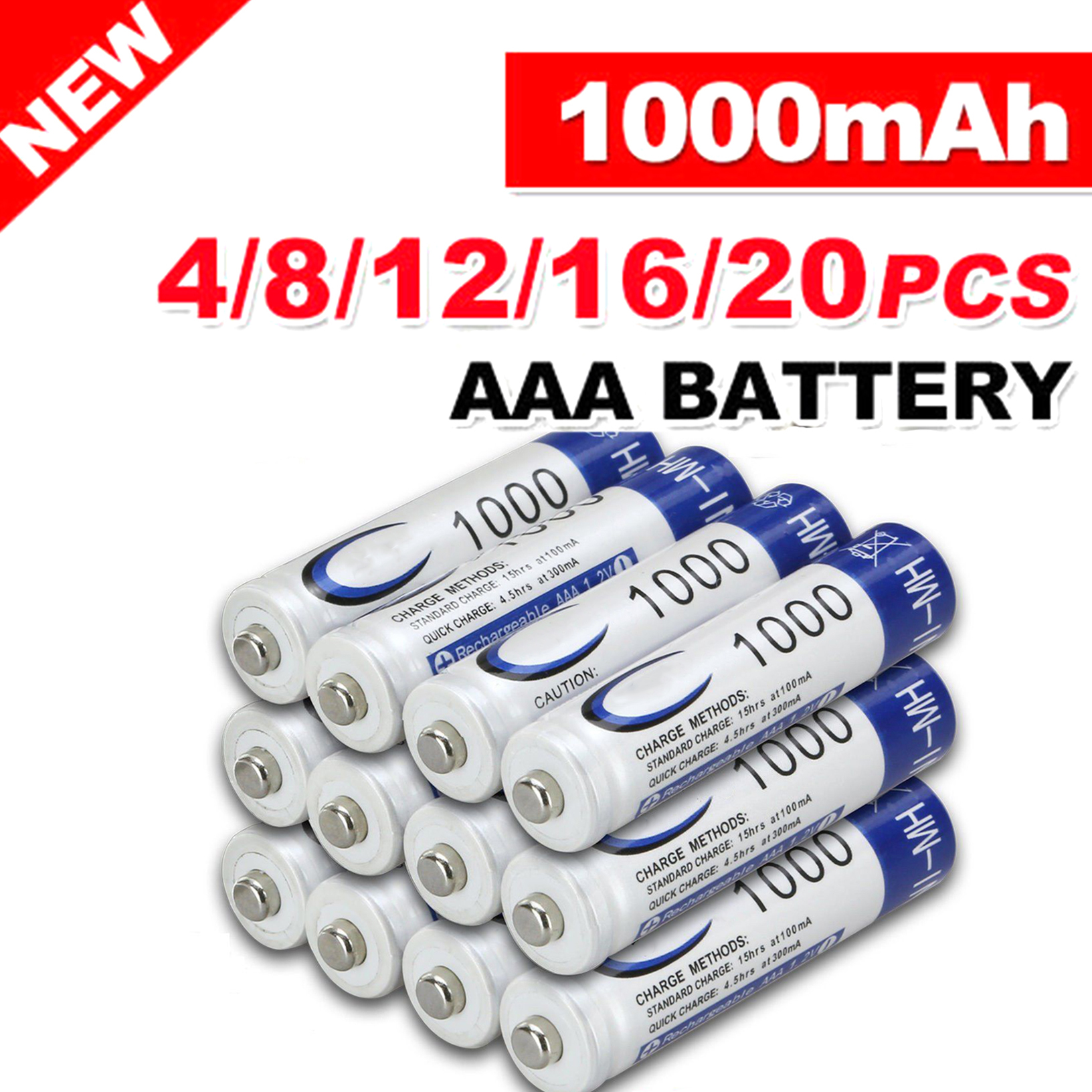 4-20pcs <font><b>AAA</b></font> 1.2V <font><b>1000mAh</b></font> Ni-MH <font><b>Rechargeable</b></font> Battery <font><b>Rechargeable</b></font> Batteries cells for toys image