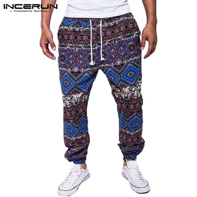 bdc230eee052 INCERUN 2018 Men Pants Ethnic Print Drawstring Cotton Loose Trousers Men  Baggy Joggers African Style Casual Pants Men Plus Size