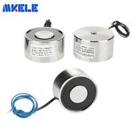 Ultrathin Round Electro Holding Magnet Mk50/27 Lifting 50kg/500n Pure Copper Coil Solenoid Sucker Electromagnet Dc 6v 12v 24v