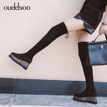 Black Fashion Women Sexy Thin High Boots Genuine Leather Boots Platform For Woman Over The Knee High Boots Winter Party Wedge 42 keaiqianjin woman string bead over the knee boots black fashion autumn winter high heeled shoes genuine leather knee high boots