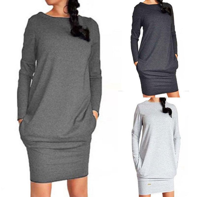 Women's Winter Sweatshirt Dress Fashion Ladies Casual Hoodie Pullover Jumper Pockets Sweater Slim Fit Tops Dress