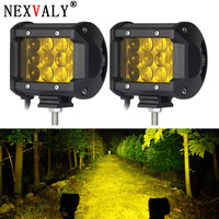 2PCS LED Work Light Bar 4 Inch 36W Yellow Triple Row Spot Beam 3800LM Waterproof Fog Lights For Boat Off Road Jeep ATV UTV SUV