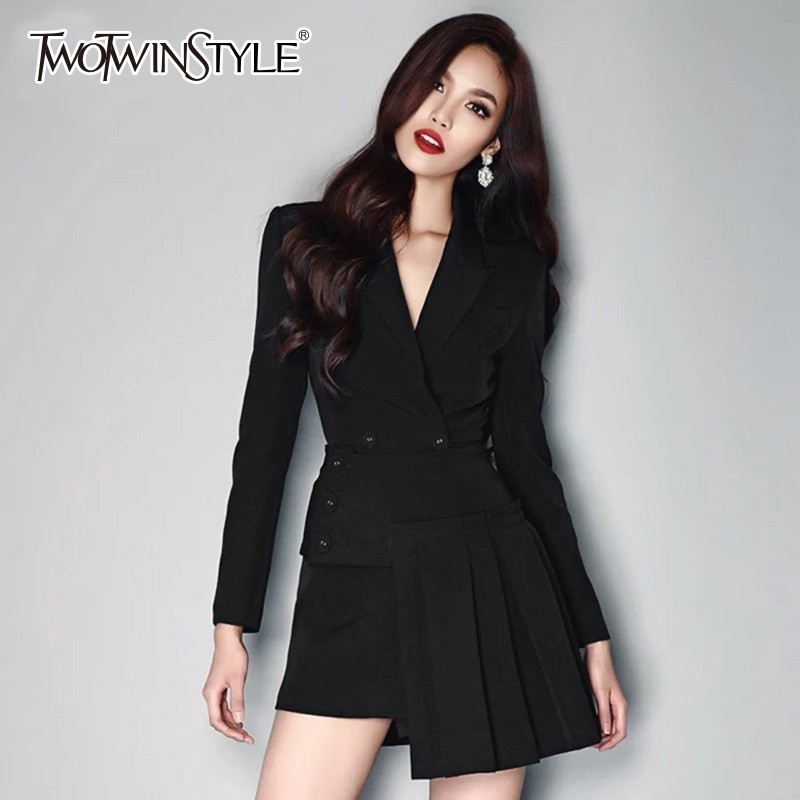 TWOTWINSTYLE Blazer Two Piece Set Female Lapel Collar Long Sleeve Suits High Waist Pleated Skirt Womens
