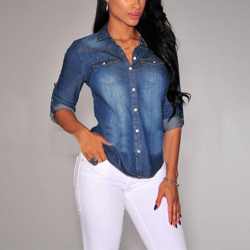 2019 Turndown Collar Casual Blue Jean Denim Long Sleeve   Shirt   Fashion Womens Tops   Blouse   Spring Jacket Chemise Femme