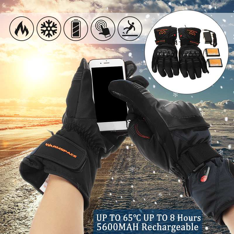 Waterproof Motorbike gloves full finger Electric Heated Battery Winter Thermo Motorcycle gloves Hands Warmer Unisex TouchScreen