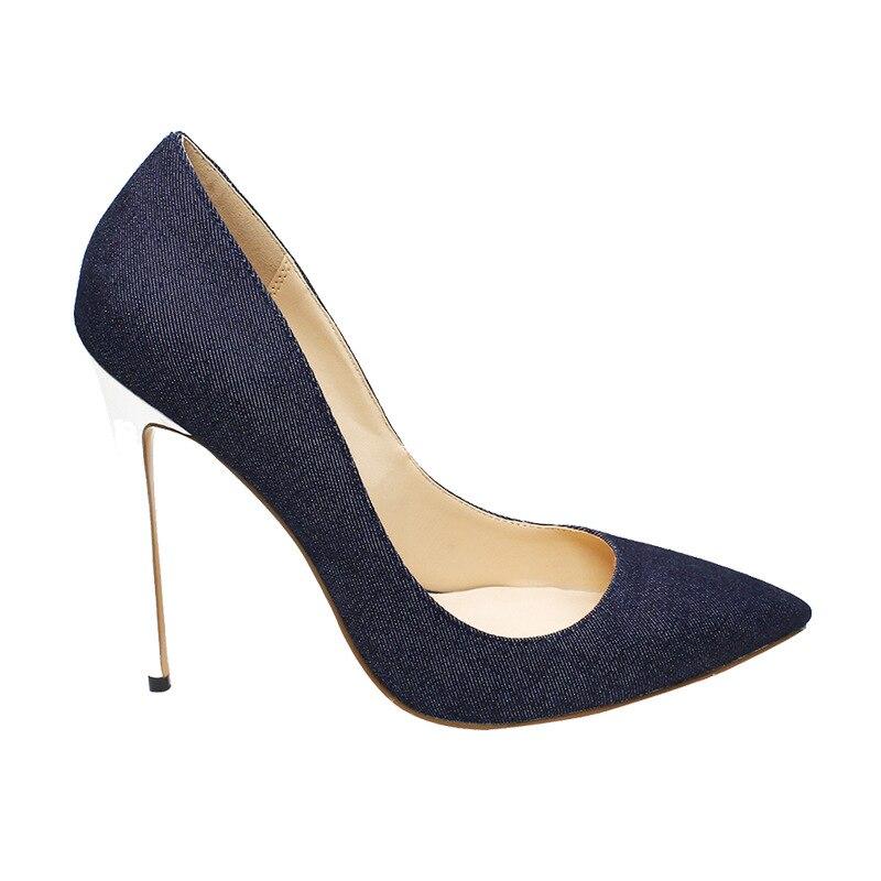Heißer Verkauf Blau Schwarz Denim Spitz Frauen Schuhe High Heels Weiß Heels Slip on Damen Hochzeit Kleid Schuhe braut Plus Größe - 4