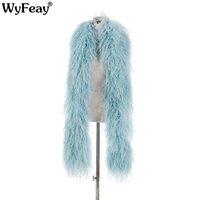 10ply Encrypted Light Blue Ostrich Feather Shawl Carnival Wedding Party Decoration Ostrich Feathers for Crafts Strip Plumes