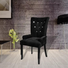 VidaXL Fauteuil de luxe Velours-enduit Noir dossier Long Europe Style chaise Fauteuil Avec Cadre En Bois Velours Noir Style moderne