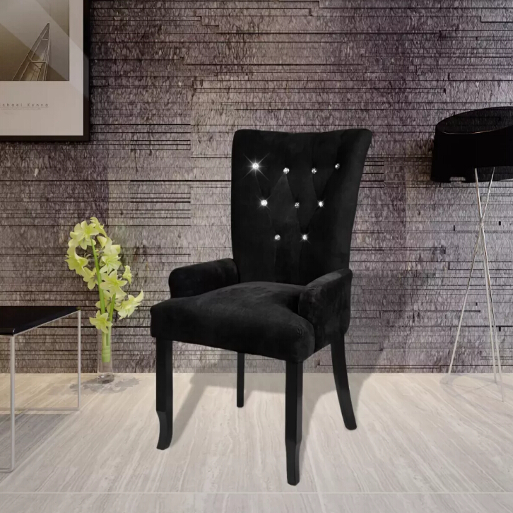 VidaXL Luxury Armchair Velvet-coated Black Long Back Europe Style Chair Fauteuil Avec Cadre En Bois Velours Noir Modern Style