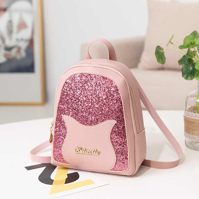 95c1912437d Girl's Small Backpack 2019 Brand Fashion Shining Sequin Shoulder Bag Women  Multi-Function Mini Back pack for Teenage Girls Kids