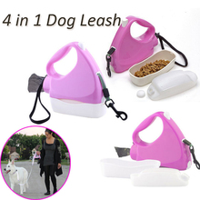 4 in 1 Retractable Dog Leash 3m Multifunctional Pet Lead Traction Rope with Food Bowl Bottle Garbage Bag Automatic Walking