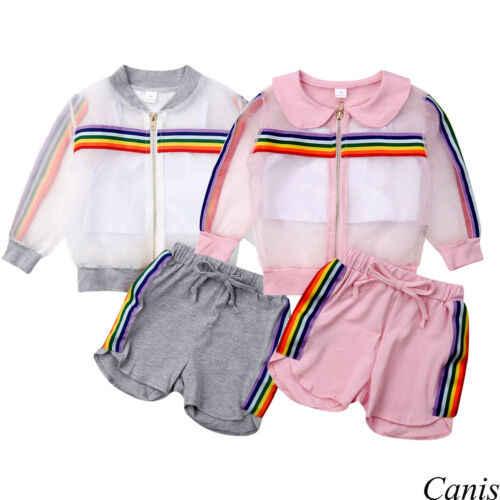 2019 ฤดูร้อนเด็กเสื้อผ้าเด็กวัยหัดเดินเด็กสาวตาข่ายเสื้อกั๊กเสื้อกางเกงชุด 3Pcs UV Sunsuit สีรุ้งลายชุด