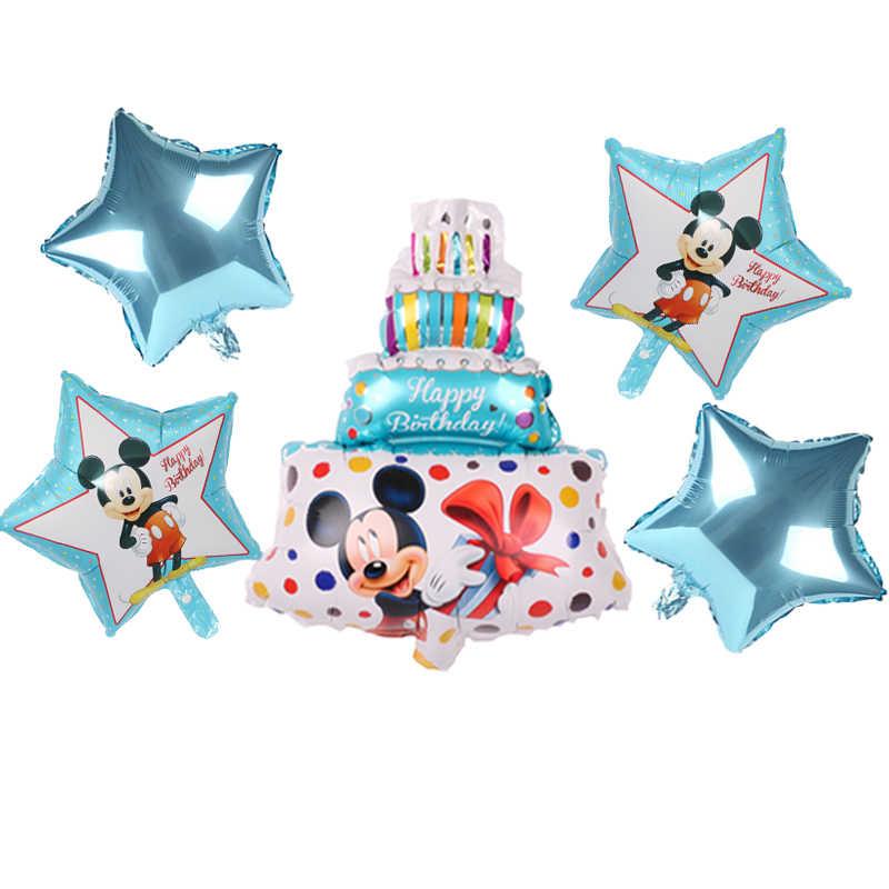 Mickey Minnie Folie Ballonnen 1st Verjaardagsfeestje Decoraties Kinderen Ballon Nummer 1 Globos Dot Latex Kinderen Speelgoed Baby Shower meisje