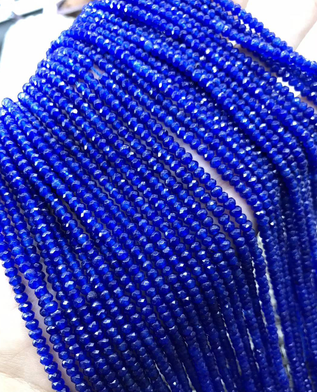 ICNWAY 2 stands lot 2 3mm Roundel faceted chalcedony gemstone beads for jewelry Making DIY Necklace Bracelet Earring 15inch in Beads from Jewelry Accessories