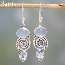 цены на New Fashion Crystal Spiral Earrings Women Waterdrop Drop Earring Vintage Natural Stone Dangle Hook Earrings Female Party Jewelry  в интернет-магазинах
