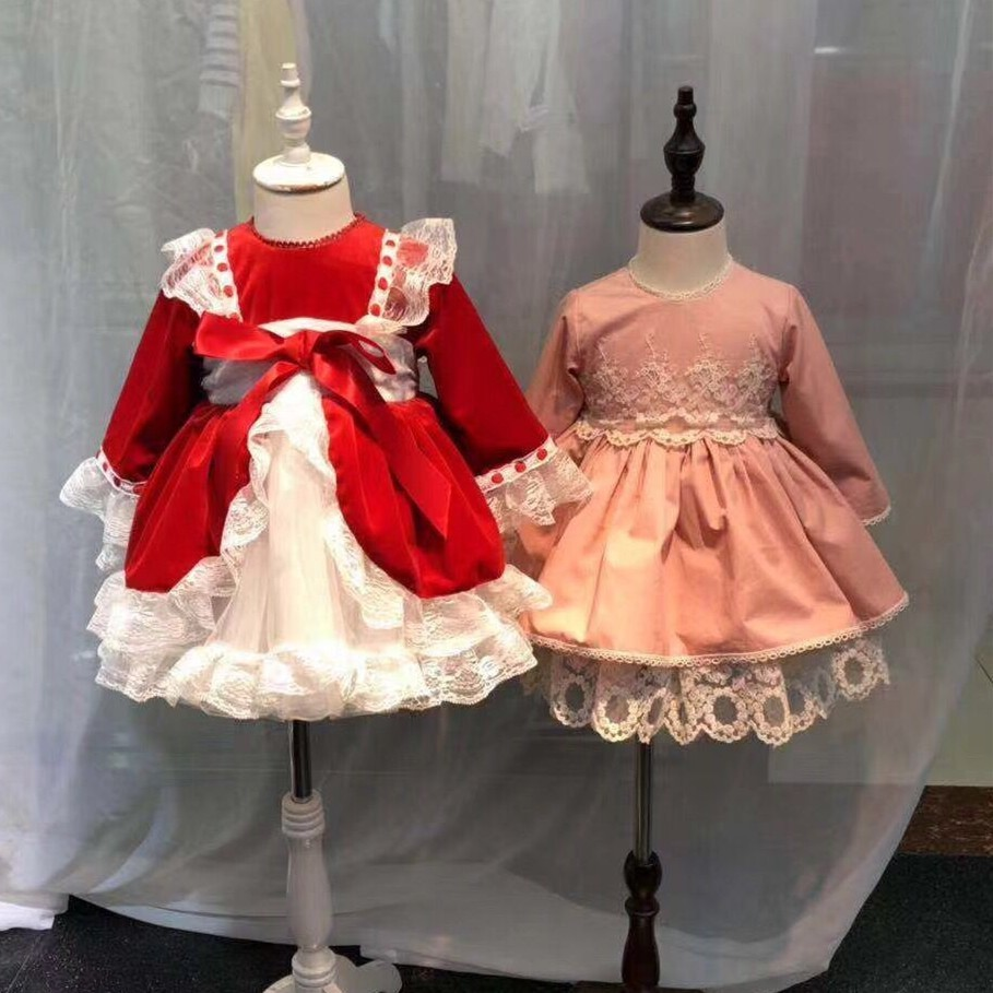 girl christmas Dress ball gown vintage red lace kids dresses for Girls princess Dress baby fancy long sleeve New Year costumes