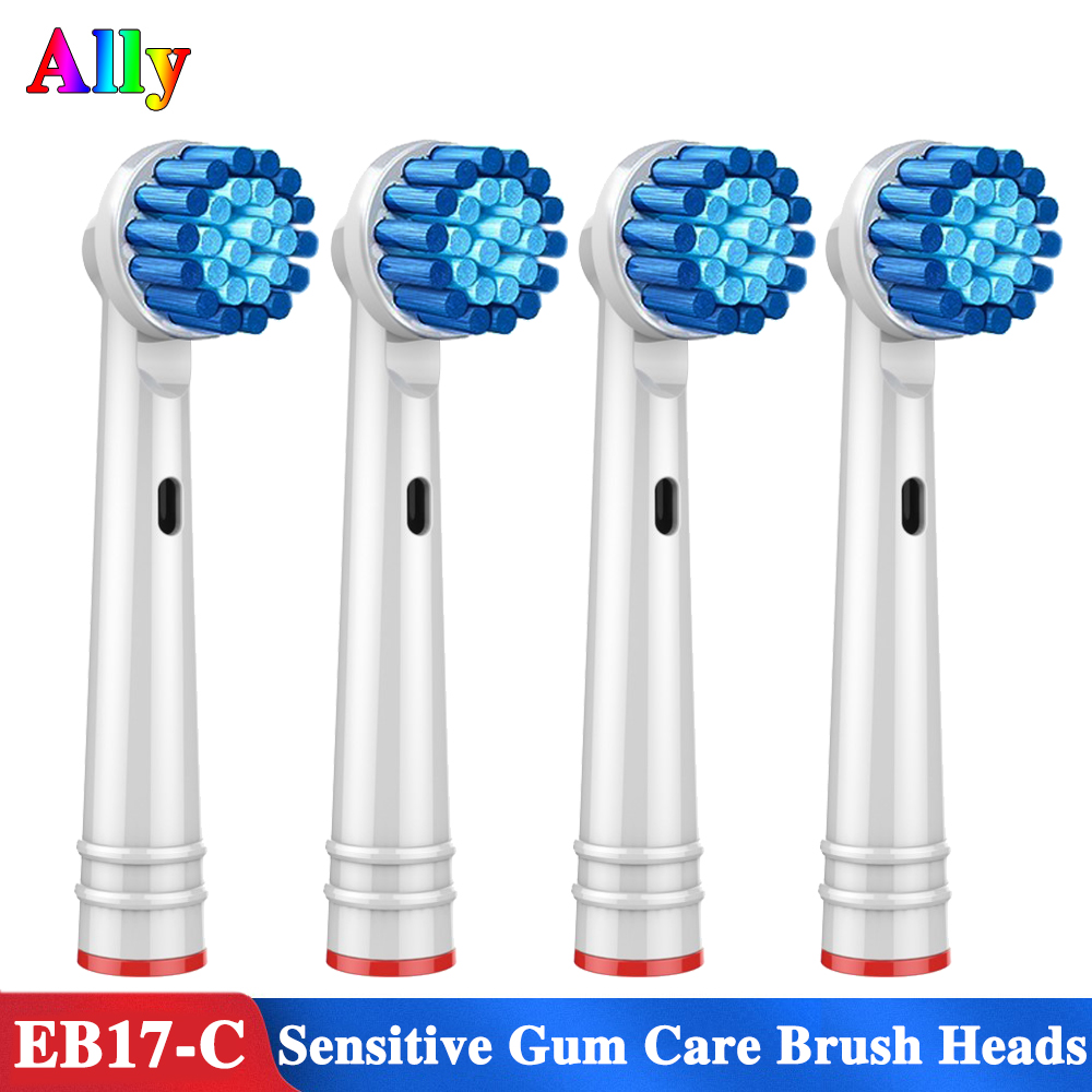4PCS EB17 Electric Toothbrush Heads Sensitive Gum Care Replacement Brush Heads For Braun Oral B Vitality Professional Care