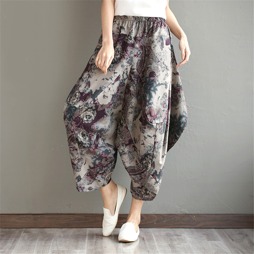 Woman Print Oversize Wide Leg Pants Summer Casual National Drop Crotch Floral Trousers Women Loose Linen Holiday Streetwear