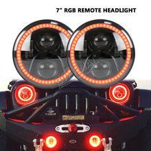 RGB 7inch round 60W led headlight bluetooth remote control DC10-30V dual beam for Wrangler JK CJ 07-15 Rubicon 4x4 truck Lada цены онлайн