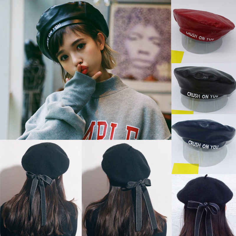 fe26262007a64 New Women Ladies Fashion PU Leather Beret Harajuku Wool Basque Beret Hat  With Bowknot