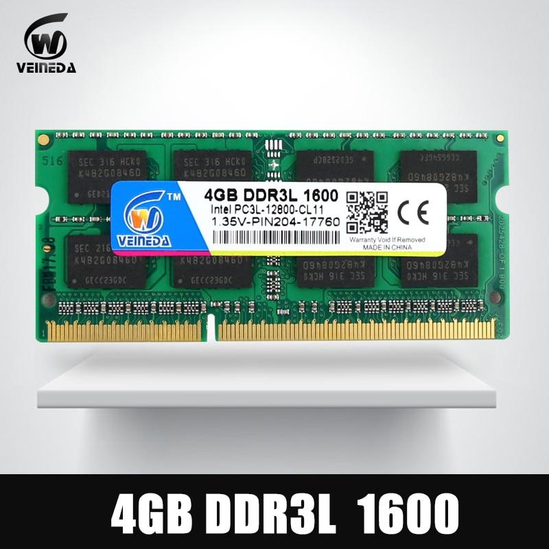 VEINEDA DDR3L 4 GB 8 GB 1333 MHz Sodimm Ram DDR 3L 1600 PC3-12800 204PIN Ram Compatible para todos Intel AMD ddr3 placa base