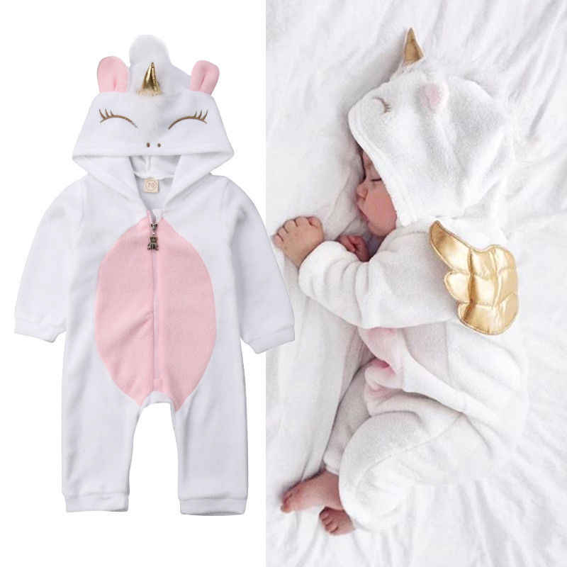 61d5848cb865 3D Unicorn Newborn Baby Girls Boy Flannel Romper Jumpsuit Long Sleeve  Zipper Winter Baby Boy Girl
