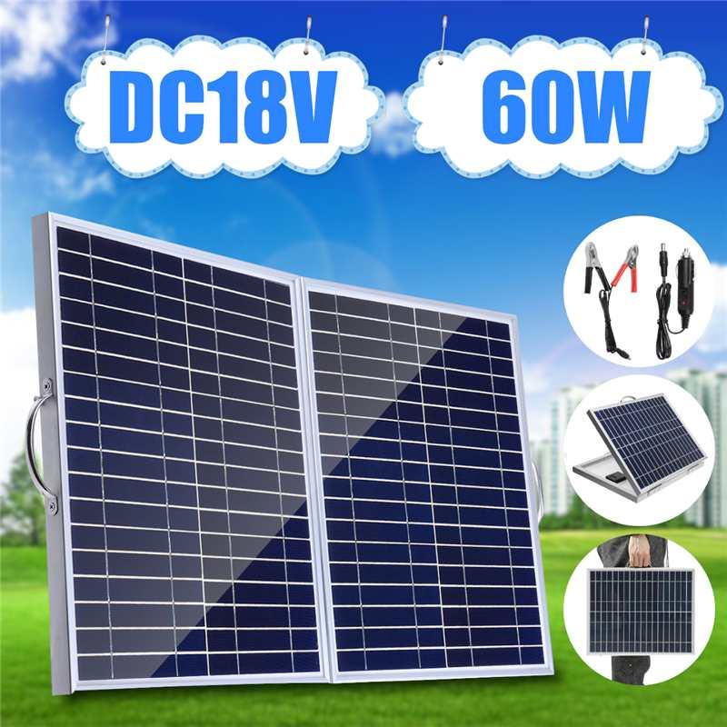 Panneau solaire monocristallin de panneau solaire portatif pliable de 60W18V avec le chargeur de voiture pour la lumière extérieure de secours de Camping imperméable