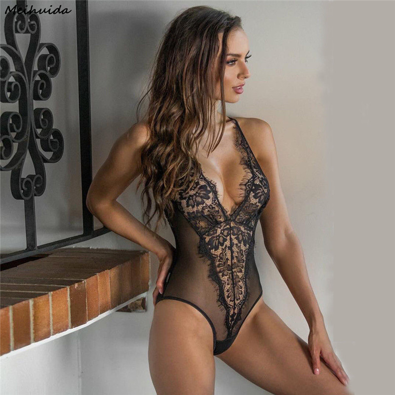 <font><b>Sexy</b></font> Lingerie Women <font><b>2018</b></font> One Piece Lace Babydoll Halter Sleepwear <font><b>Sexy</b></font> Hot Erotic Costumes Porn Latex Lenceria Sexo image