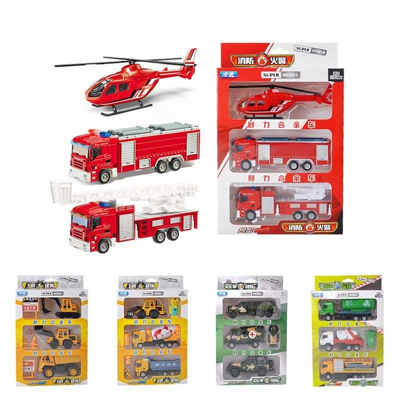 1:50 3Pcs/Set Pull Back Alloy Truck Car Model Set Kids Toys Simulated Military Fire Truck Engineering Excavator Toy For Children