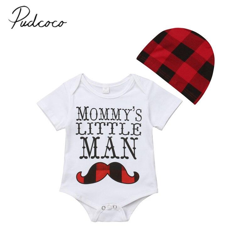 2018 Brand New Newborn Toddler Kids Baby Girls Boys Bodysuits Hats 2PCS Short Sleeve Mustache Print White Jumpsuits Plaid Hats