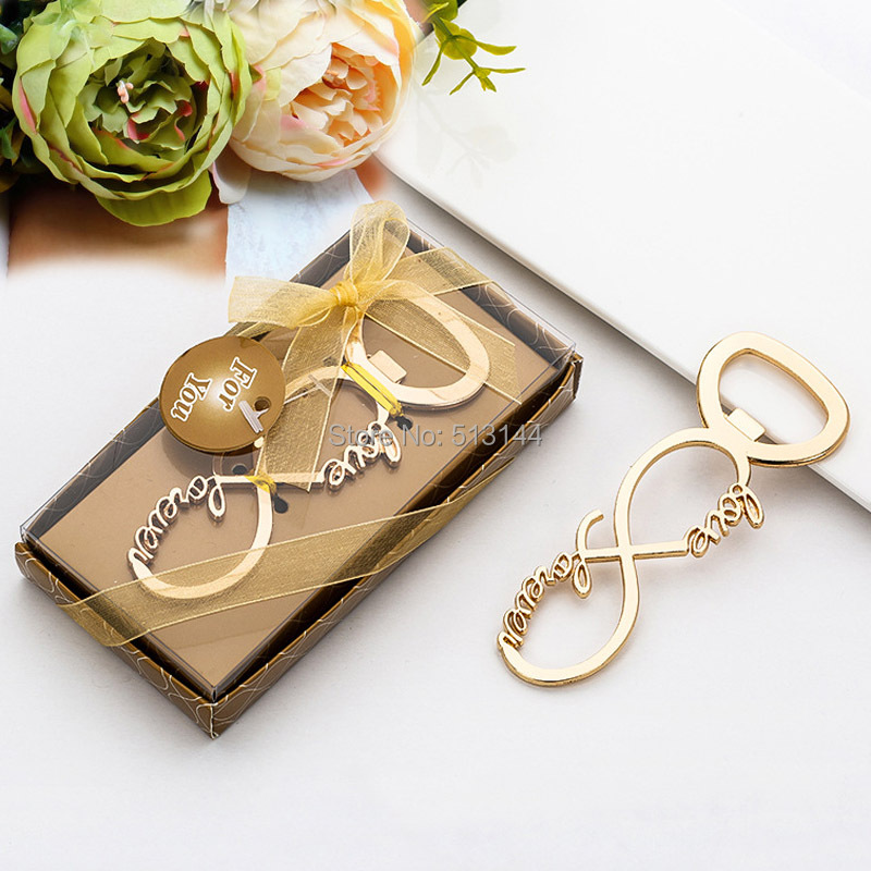 Keepsake Wedding Gifts: 20 PCS Gold Love Forever Infinity Bottle Opener Wedding