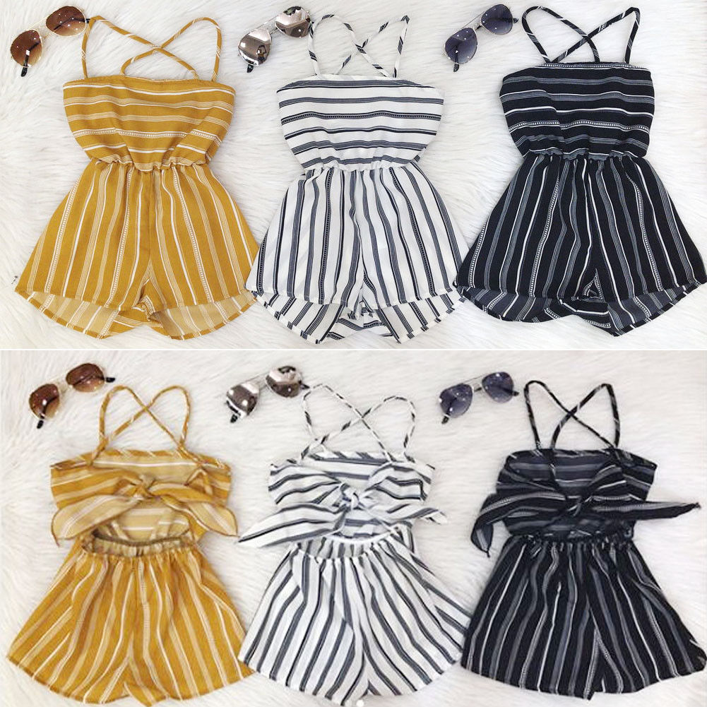 Summer Toddler Baby Kid Girl Off Shoulder  Suspender Pants  Stripe Romper Jumpsuit Playsuit 1-7Yrs Outfit
