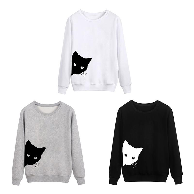 Women's Leisure Hoodies Personality Cat Head Print Loose Round Neck Long Sleeve Cotton Blend Tops For Female White Gray Black Price $12.67