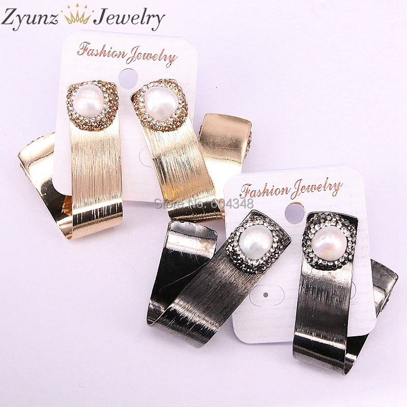 5Pairs ZYZ335 6620 Irregular Twisted Gold Black Color Nature Pearl Metal Earrings Charms For Women Party