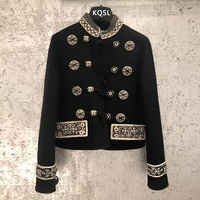 2019 Spring Luxury Vintage Embroidery Women Formal Jacket Coat Runway Designer Double Breasted Female Party Overcoat Clothes