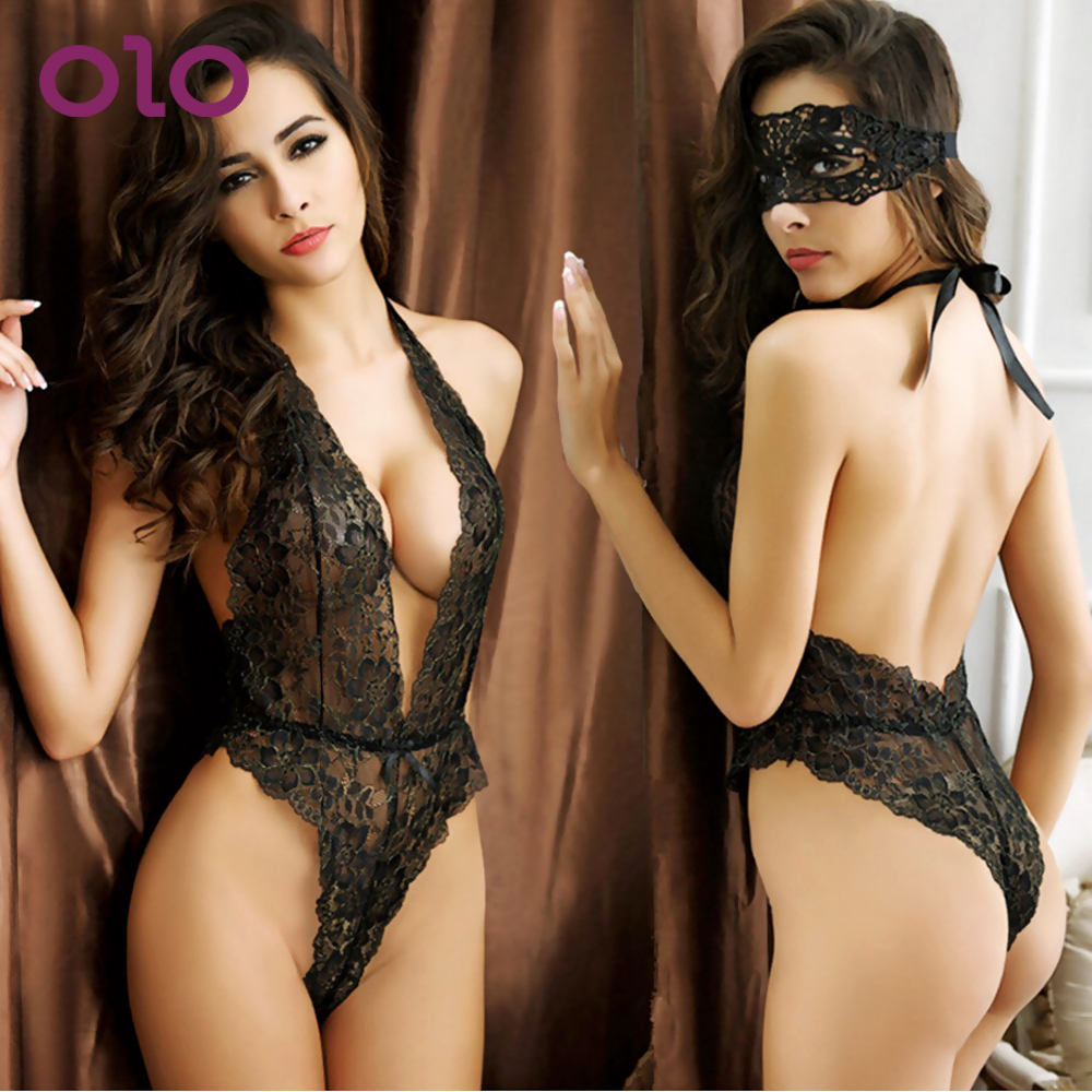 OLO Perspective Lace Temptation Eye Mask Sexy Lingerie Open Back Piece Pajamas Erotic Underwear Sex Dress Adult Games