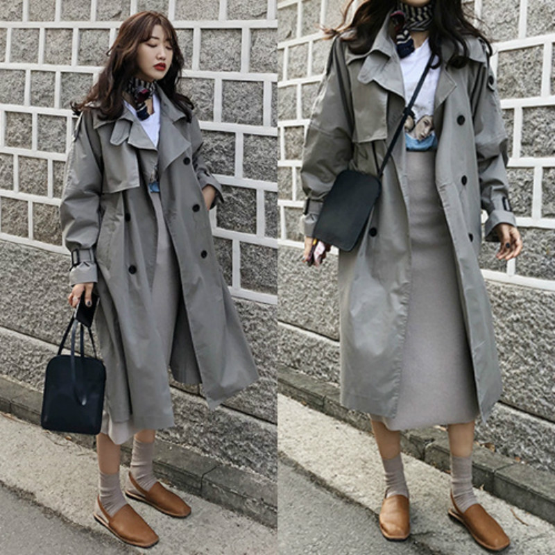 2019 Korean Women   Trench   Spring raincoat Double Breasted Long Vogue Windbreaker Coat Lady Fashion Female Overcoat Solid Harajuku