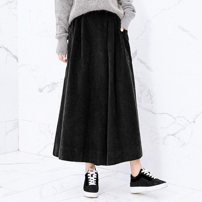 Winter Loose Ankle-Length   Pants   Pockets Women Vintage Solid Color Corduroy Asymmetry High Waist   Wide     Leg     Pants